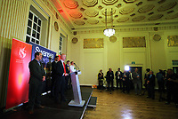 Pictured: MP Geraint Davies (2nd L) gives his acceptance speech. Friday 09 June 2017<br /> Re: Counting of ballots at Brangwyn Hall for the general election in Swansea, Wales, UK