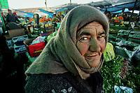 Stepanakert / Nagorno Karabakh.<br /> Una donna di etnia armena vende frutta e ortaggi al mercato.<br /> An ethnic Armenian woman sells fruit and vegetables at the market. <br /> Photo Livio Senigalliesi