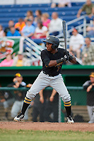 West Virginia Black Bears third baseman Melvin Jimenez (7) at bat during a game against the Batavia Muckdogs on June 19, 2018 at Dwyer Stadium in Batavia, New York.  West Virginia defeated Batavia 7-6.  (Mike Janes/Four Seam Images)