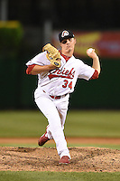 Peoria Chiefs pitcher Steven Sabatino (34) delivers a pitch during a game against the Kane County Cougars on June 2, 2014 at Dozer Park in Peoria, Illinois.  Peoria defeated Kane County 5-3.  (Mike Janes/Four Seam Images)