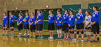 1 November 2015: The Yeshiva University Women's Volleyball Maccabees line up prior to a match against the Saint Joseph College Bears at SUNY Old Westbury in Old Westbury, NY. The Bears shut out the Maccabees 3-0 in NCAA women's volleyball, Skyline Conference play. Mandatory Credit: Ed Wolfstein Photo *** RAW (NEF) Image File Available ***