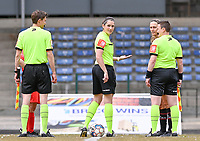 referee Caroline Lanssens pictured during a female soccer game between FC Femina White Star Woluwe and SV Zulte Waregem on the fifth matchday of play off 2 in the 2020 - 2021 season of Belgian Scooore Womens Super League , Saturday 8 th of May 2021  in Woluwe , Belgium . PHOTO SPORTPIX.BE   SPP   DAVID CATRY