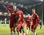 20.12.2019 Hibs v Rangers: Jermain Defoe scores goal no 3 and celebrates with Borna Barisic