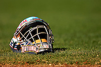 18 March 2007: Washington Nationals catcher's mask of Jesus Flores lies on the grass prior to a game against the Florida Marlins at Space Coast Stadium in Viera, Florida...Mandatory Photo Credit: Ed Wolfstein Photo