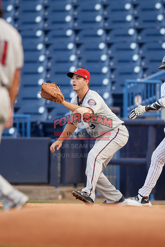 Fort Myers Miracle first baseman Trey Vavra (9) stretches for a throw during a game against the Tampa Yankees on April 12, 2017 at George M. Steinbrenner Field in Tampa, Florida.  Tampa defeated Fort Myers 3-2.  (Mike Janes/Four Seam Images)