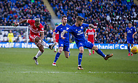 Adama Traore of Middlesbrough shoots at goal during the Sky Bet Championship match between Cardiff City and Middlesbrough at the Cardiff City Stadium, Cardiff, Wales on 17 February 2018. Photo by Mark Hawkins / PRiME Media Images.