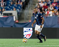 FOXBOROUGH, MA - SEPTEMBER 21: Andrew Farrell #2 of New England Revolution dribbles during a game between Real Salt Lake and New England Revolution at Gillette Stadium on September 21, 2019 in Foxborough, Massachusetts.