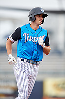 Tampa Tarpons center fielder Ben Ruta (6) runs the bases after hitting a lead off home run during the first game of a doubleheader against the Lakeland Flying Tigers on May 31, 2018 at George M. Steinbrenner Field in Tampa, Florida.  Tampa defeated Lakeland 3-0.  (Mike Janes/Four Seam Images)