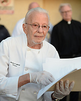 FORT LAUDERDALE, FL - NOVEMBER 12: Arnold Abbott, a 90-year-old chef, dishes out food to the homeless in violation of a recently passed city law on November 12, 2014 in Fort Lauderdale, Florida. The city said they passed the ordinance which tightens restrictions on outdoor feedings in public spaces for sanitary and security reason, but Mr. Abbott continued to feed the homeless in a city park where he has twice been cited for violating the new ordinance.<br /> <br /> People:  Arnold Abbott