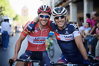 former teammates in 2 squads Adam Hansen (AUS/Lotto-Soudal) & Vincente Reynes (ESP/IAM) at the start of the last stage, which would make Hansen the sole record holder of most finished successive Grand Tours in history (13!)<br /> <br /> stage 21: Alcala de Henares - Madrid (98km)<br /> 2015 Vuelta à Espana