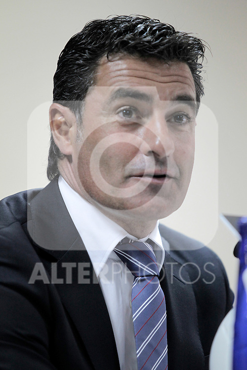Getafe's coach Michel Gonzalez in press conference after La Liga match.October 3,2010. (ALTERPHOTOS/Acero)