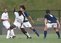 04 September 2009: Justin Morrow #21 of the University of Notre Dame pushes into Ike Opara #23 of Wake Forest University during an Adidas Soccer Classic match at the University of Indiana in Bloomington, In. The game ended in a 1-1 tie..