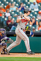 Ryan O'Hearn #27 of the Sam Houston State Bearkats follows through on his swing against the Texas Christian Horned Frogs at Minute Maid Park on February 28, 2014 in Houston, Texas.  The Bearkats defeated the Horned Frogs 9-4.  (Brian Westerholt/Four Seam Images)