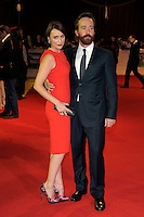 Keeley Hawes & Matthew Macfadyen.'The Three Musketeers in 3D' world film premiere, Vue cinema, Westfield, London, England. 4th October 2011.full length red orange sleeveless dress clutch bag silver pink shoes black suit beard facial hair married husband wife .CAP/PL.©Phil Loftus/Capital Pictures.