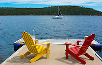 Bar Harbor Maine Life in Maine peaceful scene on water with Adirondack chairs to relax
