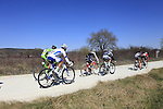 The breakaway group led by Artem Ovechkin (RUS) Rusvelo tackle Sector 2 Vidritta of gravel during the 2015 Strade Bianche Eroica Pro cycle race 200km over the white gravel roads from San Gimignano to Siena, Tuscany, Italy. 7th March 2015<br /> Photo: Eoin Clarke/www.newsfile.ie