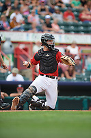 Erie SeaWolves catcher Grayson Greiner (21) during a game against the Hartford Yard Goats on August 6, 2017 at UPMC Park in Erie, Pennsylvania.  Erie defeated Hartford 9-5.  (Mike Janes/Four Seam Images)