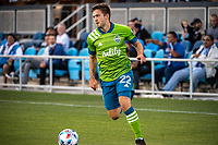 SAN JOSE, CA - MAY 12: Kelyn Rowe #22 of the Seattle Sounders looks up to pass the ball during a game between San Jose Earthquakes and Seattle Sounders FC at PayPal Park on May 12, 2021 in San Jose, California.
