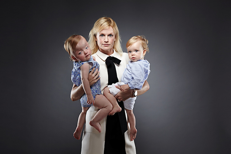 © John Angerson<br /> 140705 Times magazine<br /> Emma Chandler with her twins India and Charlie at home in Notting Hill
