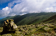 Mount Washington engulfed in clouds from near the summit of Mount Monroe, along the Appalachian Trail (Crawford Path), in Sargent's Purchase in the New Hampshire White Mountains.