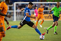 SAN JOSE, CA - JULY 24: Luciano Abecasis #2 of the San Jose Earthquakes dribbles the ball during a game between San Jose Earthquakes and Houston Dynamo at PayPal Park on July 24, 2021 in San Jose, California.