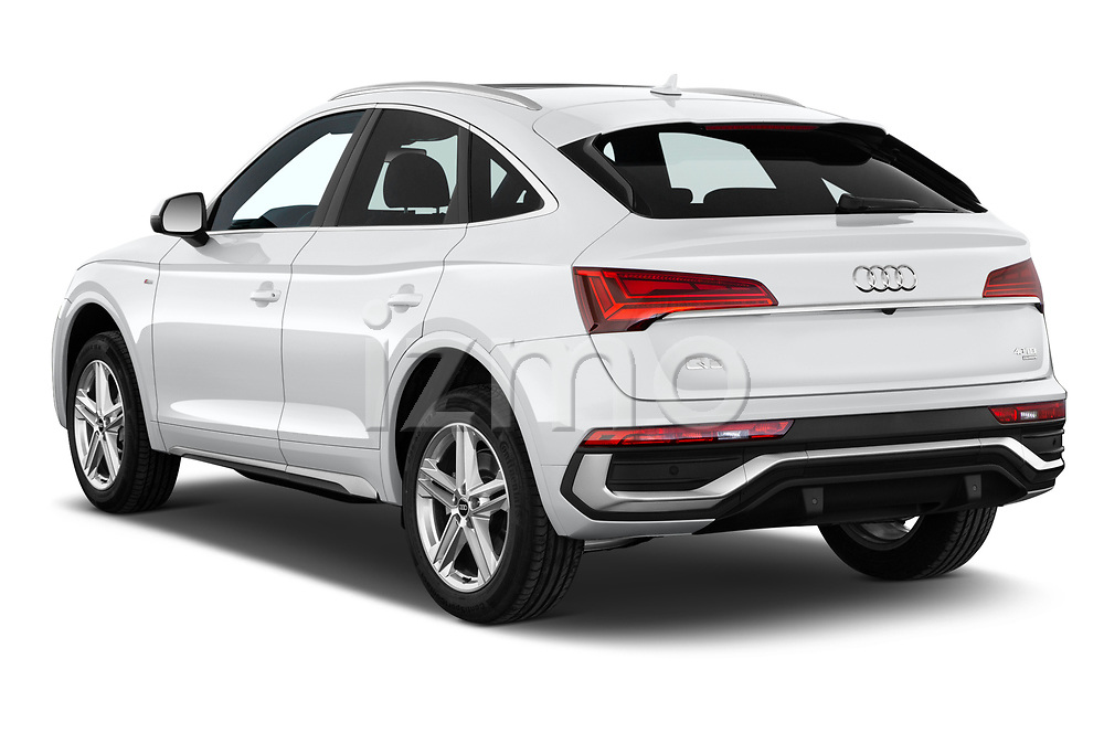 Car pictures of rear three quarter view of 2021 Audi Q5-Sportback S-Line 5 Door SUV Angular Rear