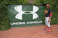 Juan Hillman (18) of Olympia High School in Winter Garden, Florida poses for a photo during practice before the Under Armour All-American Game on August 16, 2014 at Wrigley Field in Chicago, Illinois.  (Mike Janes/Four Seam Images)