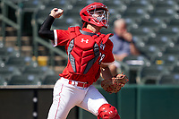 Catcher Jacob Cozart (38) throws down during the Baseball Factory All-Star Classic at Dr. Pepper Ballpark on October 4, 2020 in Frisco, Texas.  Jacob Cozart (38), a resident of High Point, North Carolina, attends Wesleyan Christian High School.  (Ken Murphy/Four Seam Images)