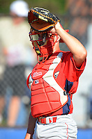 Williamsport Crosscutters catcher Corey Bass #16 during practice before a game against the Jamestown Jammers on June 20, 2013 at Russell Diethrick Park in Jamestown, New York.  Jamestown defeated Williamsport 12-6.  (Mike Janes/Four Seam Images)