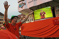 Dutch supporters cheer at public viewing area in the old town  of Nuremburg, Germany after Portugal defender XXXXX XXXXX was given his second yellow card causing him to be expelled from the FIFA World Cup second round match against the Netherlands national soccer team at  the Nuremburg World Cup stadium on Sunday, June 25nd, 2006.  Portugal defeated Netherlands 1-0.