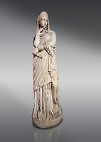Roman statue of Nemesis goddess of  retribution.Marble. Perge. 2nd century AD. Inv no 6.29.81 .Antalya Archaeology Museum; Turkey.