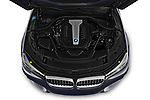 Car stock 2018 BMW 7 Series M Sport 4 Door Sedan engine high angle detail view