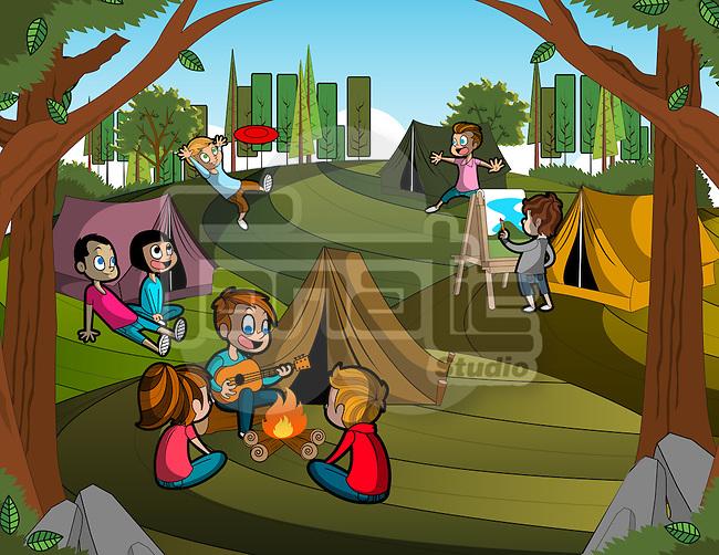 Illustration of children enjoying during camping