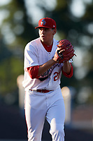 Auburn Doubledays starting pitcher Seth Romero (21) gets ready to deliver a pitch during a game against the Connecticut Tigers on August 8, 2017 at Falcon Park in Auburn, New York.  Auburn defeated Connecticut 7-4.  (Mike Janes/Four Seam Images)