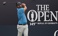 13th July 2021; The Royal St. George's Golf Club, Sandwich, Kent, England; The 149th Open Golf Championship, practice day; Antoine Rozner (FRA) hits his driver from the 1st tee