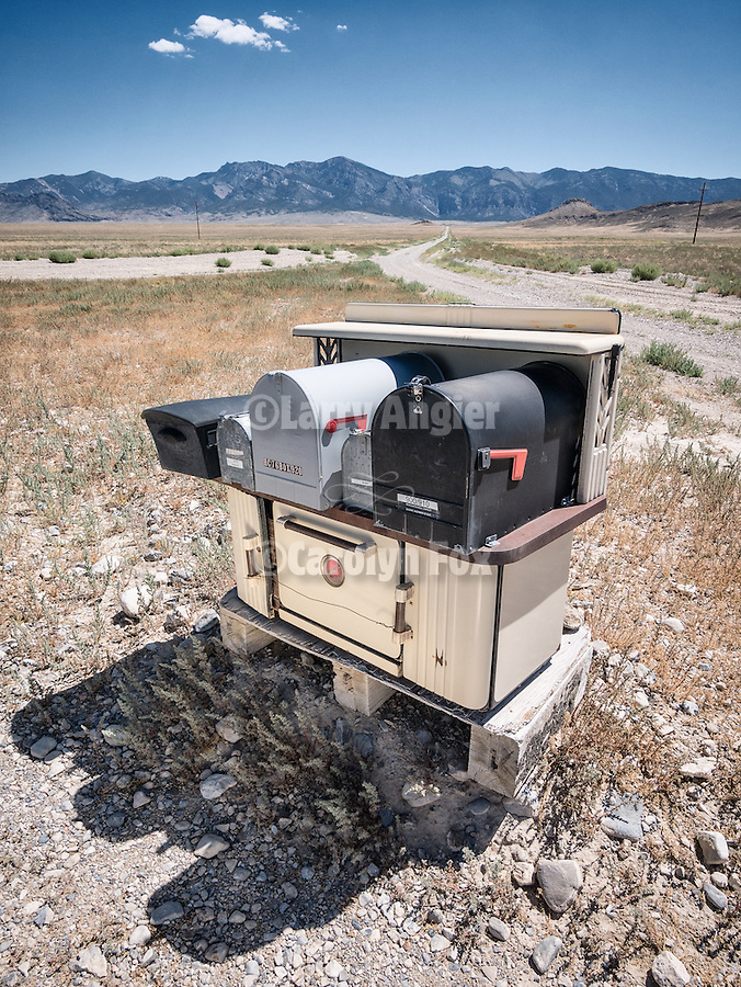 Mailboxes on a wood-fired range in the open range, Railroad Valley, Nev.<br /> <br /> (Hot mail)