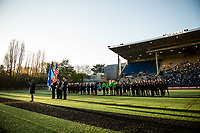 Seattle, WA - April 15th, 2017: Seattle Reign FC and Sky Blue FC during a regular season National Women's Soccer League (NWSL) match between the Seattle Reign FC and Sky Blue FC at Memorial Stadium.