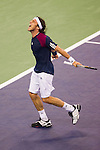 SHANGHAI, CHINA - OCTOBER 15:  Juan Monaco of Argentina celebrates a point to Jurgen Melzer of Austria during day five of the 2010 Shanghai Rolex Masters at the Shanghai Qi Zhong Tennis Center on October 15, 2010 in Shanghai, China.  (Photo by Victor Fraile/The Power of Sport Images) *** Local Caption *** Juan Monaco