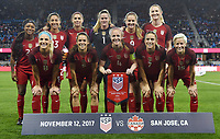 San Jose, CA - Sunday November 12, 2017: U.S. Women's National team starting eleven during an International friendly match between the Women's National teams of the United States (USA) and Canada (CAN) at Avaya Stadium.