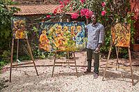 Artist Amadou Lamine Seck Displaying his Work, Biannual Arts Festival, Goree Island, Senegal.