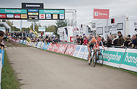 Rob Peeters (BEL/Vastgoedservice-Golden Palace) closing the door on Kevin Pauwels (BEL/Sunweb-Napoleon Games) in the finish straight, fighting for 2nd place<br /> <br /> Men Elite Race<br /> Superprestige Zonhoven 2015
