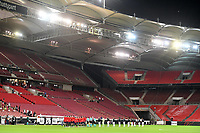 3rd September 2020; Stuttgart, Germany; UEFA Nations League football, Germany versus Spain;  An empty stadium as the team stand for anthems