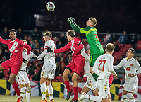 COLLEGE PARK, MD - NOVEMBER 15: Niklas Neumann #36 of Maryland punches clear during a game between Indiana University and University of Maryland at Ludwig Field on November 15, 2019 in College Park, Maryland.
