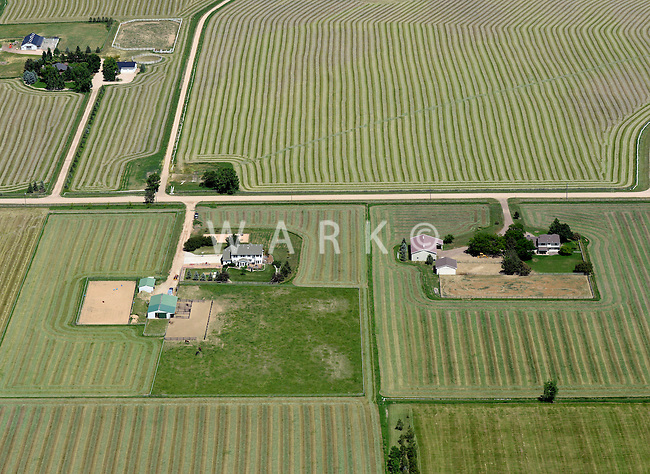 Aerial of famland east of Ft. Collins, Colorado.  June 2014
