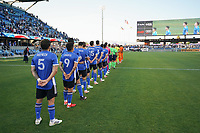 SAN JOSE, CA - JULY 24: The San Jose Earthquakes line up before a game between Houston Dynamo and San Jose Earthquakes at PayPal Park on July 24, 2021 in San Jose, California.