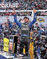 DAYTONA BEACH, FL - FEBRUARY 24: Jimmie Johnson wins the 55th running of the Daytona 500 at Daytona International Speedway on February 24, 2013 in Daytona Beach, Florida.<br /> <br /> <br /> People:  Jimmie Johnson
