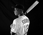 Chicago Cubs Alfonso Soriano (12) at media photo day on February 18, 2012 during spring training in Mesa, AZ.