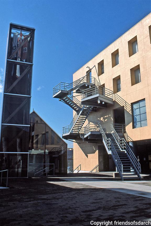 Frank Gehry: Loyola University Law School. Main Building--stairs.  Photo Jan. 1987.