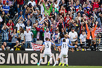 Seattle, WA - Thursday, June 16, 2016: United States forward Clint Dempsey (8) celebrates his goal during a Quarterfinal match of the 2016 Copa America Centenrio at CenturyLink Field.