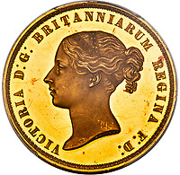 BNPS.co.uk (01202) 558833.<br /> Pic: HA.com/BNPS<br /> <br /> An extremely rare Queen Victoria coin has emerged for sale for £360,000. ($500,000)<br /> <br /> The 1839 gold 'Victoria Una and the Lion' five pounds coin shows the 20-year-old monarch, who ascended to the throne two years earlier, leading a lion which represents the British Empire.<br /> <br /> The reverse of the coin, of which only 400 were struck, carries a portrait of Victoria's head.